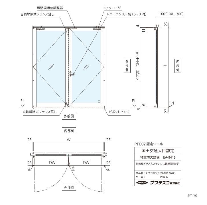 ナブコ防火戸 PFD 手動開き戸各種(PFD32~35)画像1