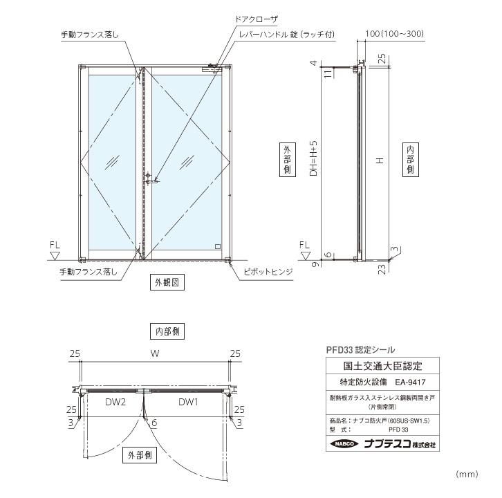 ナブコ防火戸 PFD 手動開き戸各種(PFD32~35)画像2