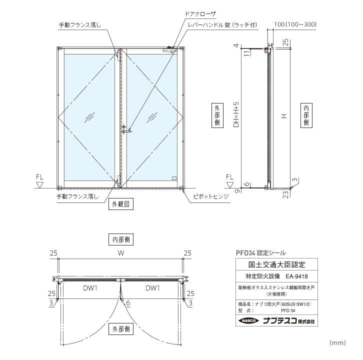ナブコ防火戸 PFD 手動開き戸各種(PFD32~35)画像3
